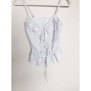 Abercrombie & Fitch Pale Gray Top With Beading